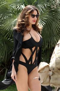 Kelly Brook Cannes Swimwear Photoshoot Candids